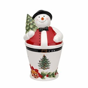 Spode Spode Christmas Tree Mr Snowman Cookie Jar