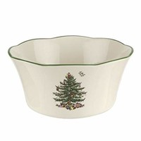 Spode Christmas Tree Flared Scalloped Bowl