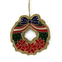 St. Nicolas USA Poinsettia Christmas Wreath Ornament