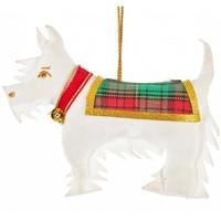 St. Nicolas Scottie Dog White Ornament