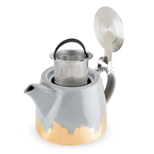 Pinky Up Harper Grey and Gold Brushed Ceramic Teapot & Infuser