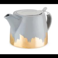Harper Grey and Gold Ceramic Teapot & Infuser