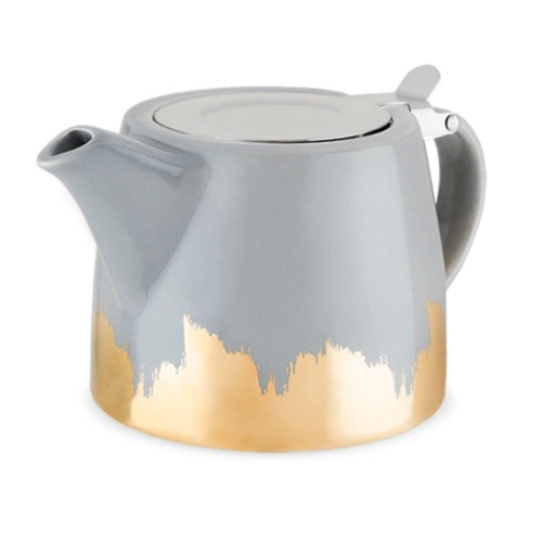 Pinky Up Harper Grey and Gold Ceramic Teapot & Infuser