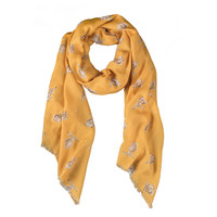 Wrendale Leaping Hare Mustard Scarf