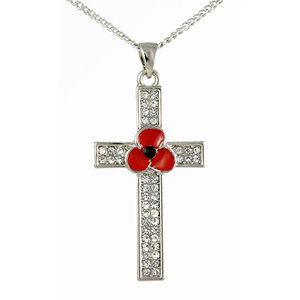 Peace Poppy Cross Pendant