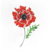 Wild Poppy Peace Brooch