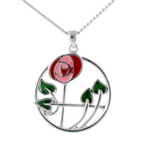Mackintosh Rose in Circle Pendant
