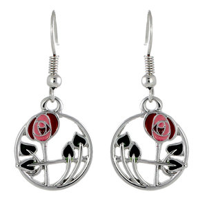 Mackintosh Rose in Circle Earrings