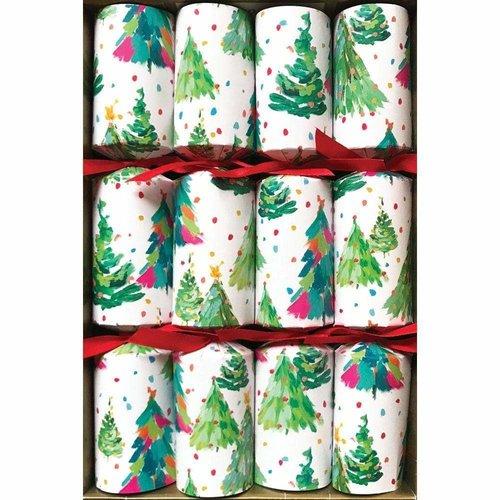 Caspari Caspari Brushstroke Trees Christmas Crackers 8 Count