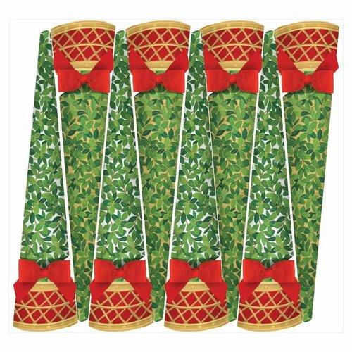 Caspari Caspari Boxwood Topiary Ivory/Gold Crackers 8 Count
