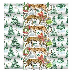 Caspari Leopards in Snow Crackers 6 Count