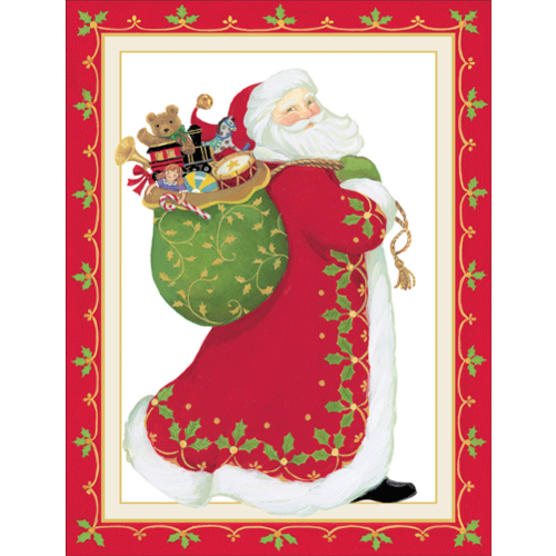 Caspari Santa Claus Embossed Boxed Christmas Cards