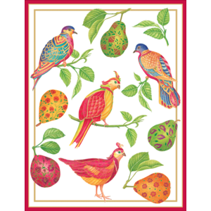 Caspari Gilded Birds and Pears Embossed Boxed Christmas Cards
