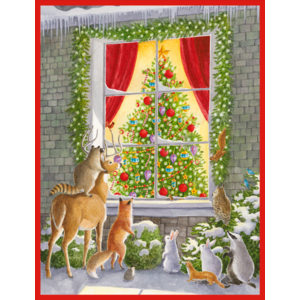 Caspari Woodland Animals at the Window Boxed Christmas Cards