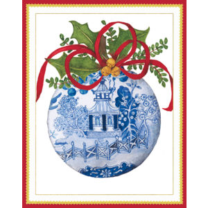 Caspari Blue and White Ornament Boxed Christmas Cards