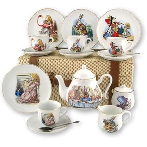 Reutter Porzellan Alice in Wonderland Tea Set for 4 - Picnic Basket