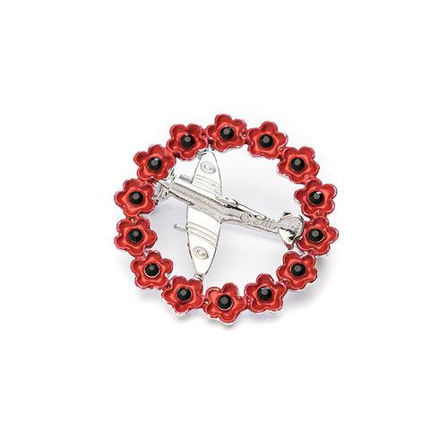 Spitfire in Poppy Wreath Brooch