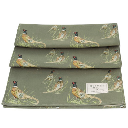 Mosney Mill Mosney Mill Pheasant Table Runner Sage Green