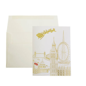 Paula Skene Paula Skene London Skyline with Santa Gold On White Boxed Cards