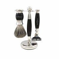 3pc Black & Chrome Shaving Set