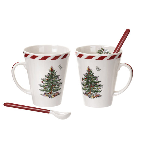 Spode Spode Christmas Tree Peppermint Conical Mug with Spoons, Set of 2