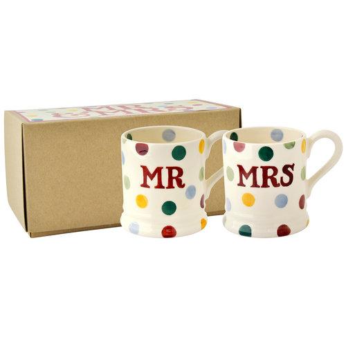 Emma Bridgewater Bridgewater Polka Dot Mr. and Mrs. 1/2 Pint Mugs