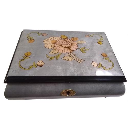 Splendid Music Box Co. Light Blue with Flowers Box
