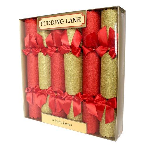 Pudding Lane Pudding Lane Red & Gold Glitter Crackers