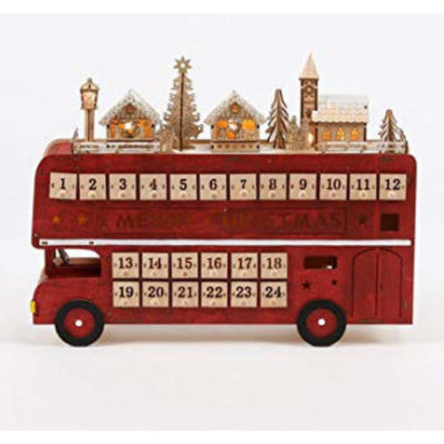 Double Decker Bus Wooden Advent Calendar