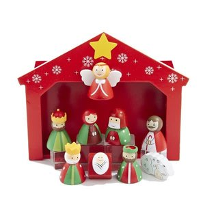 Kurt Adler Children's Wooden Nativity Scene