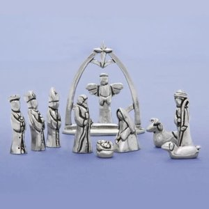 Basic Spirit Pewter Nativity with Creche