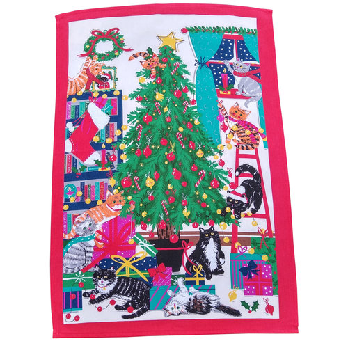 Ulster Weavers Christmas Tree Cats Tea Towel