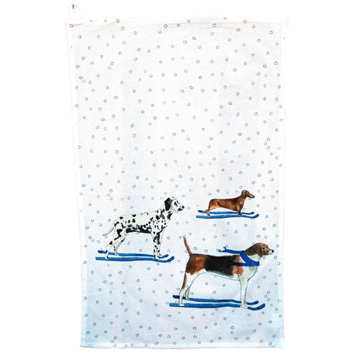 Creative Co-Op Ski Dogs Tea Towel