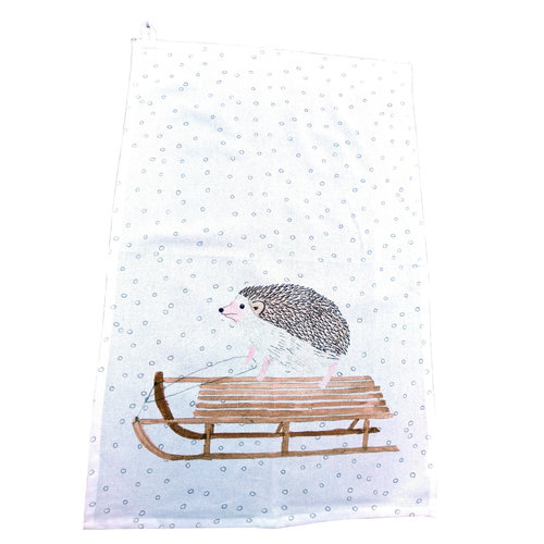 Creative Co-Op Sled Hedgehog Tea Towel