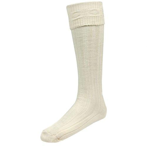 Lochcarron Kilt Hose Plain White Size Medium
