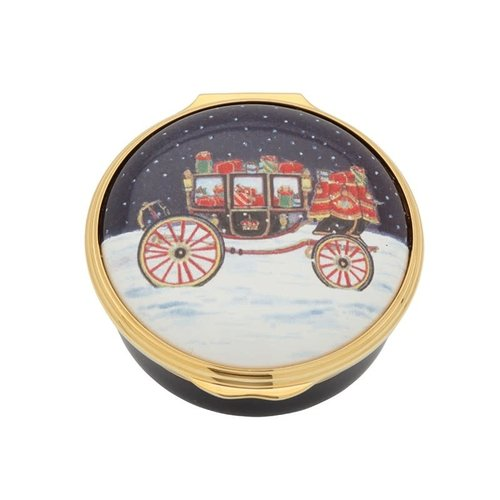 Halcyon Days Carriage in the Snow Enamel Box