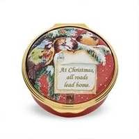 At Christmas All Roads Lead Home Enamel Box