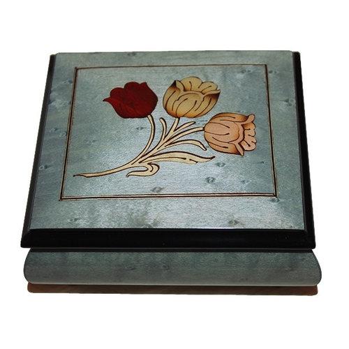 Splendid Music Box Co. Blue Box with Flowers