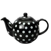 London Pottery  4 Cup Black & White Spots Teapot