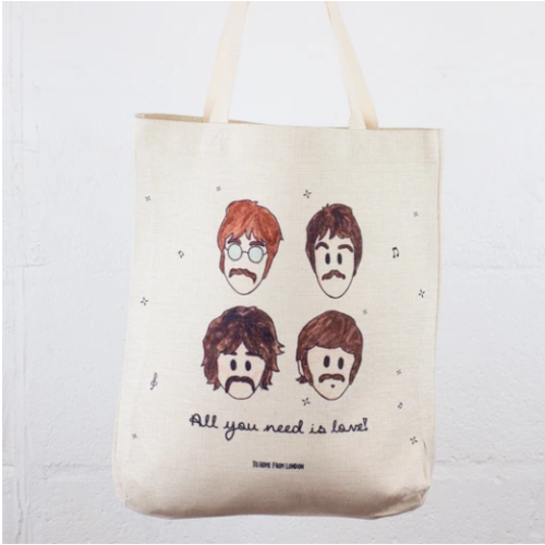 Linen Tote Bag-All You Need Is Love