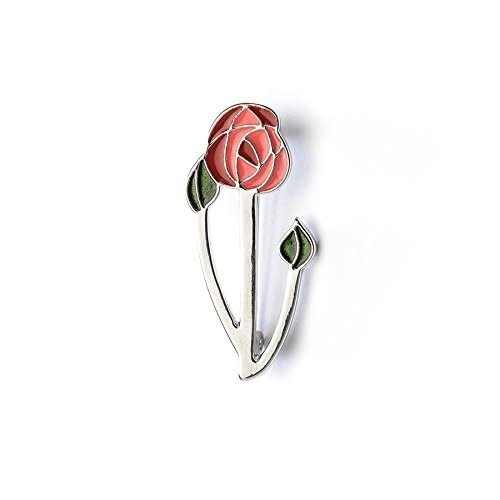 Single Rose Enamel Brooch