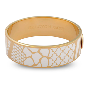 Halcyon Days Halcyon Days Wildlife Bangle- White and Gold 3/4'' (19 mm)