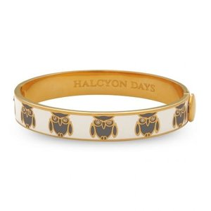Halcyon Days Halcyon Days Owl Bangle- Cream and Gold 1/4''