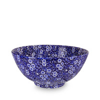 Calico Blue Large Footed Bowl