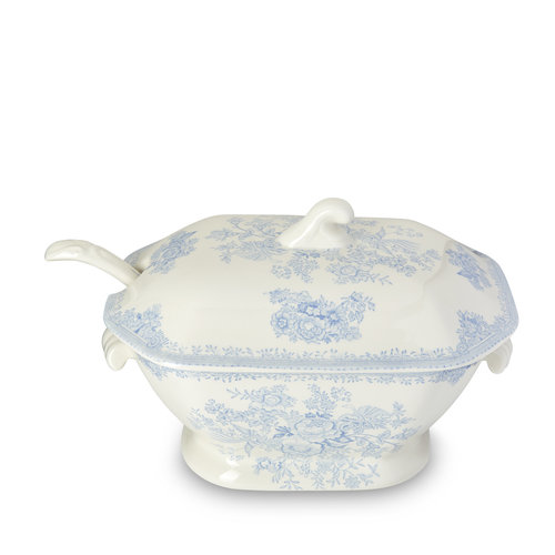 Burleigh Pottery Asiatic Pheasants Blue Soup Tureen & Ladle