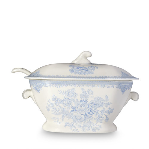 Burleigh Pottery Asiatic Pheasants Blue Soup Tureen & Ladle