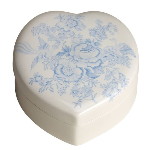 Burleigh Pottery Asiatic Pheasants Blue Heart Box