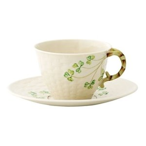 Belleek Shamrock Weave Cup and Saucer