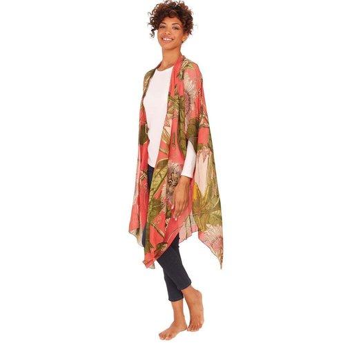 Coral Passionflower Kimono