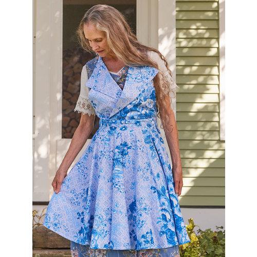 Marion Collar Apron Blue